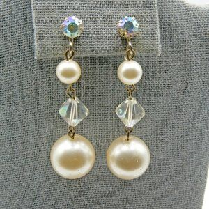 Jewelry - Vintage Crystal and Faux Pearl Long Dangle Earring